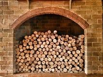 Madera y modelo y textura de la chimenea Foto de archivo libre de regalías