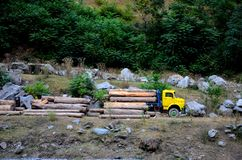 Madereros que cargan troncos de árbol sobre el camión amarillo en la ladera Kaghan Paquistán fotografía de archivo libre de regalías