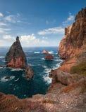 Madery wyspa, Portugalia, Europa, zmierzch, skalista linia brzegowa Zdjęcie Stock