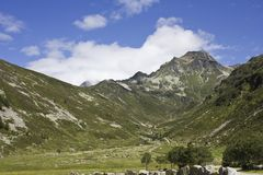 Madesimo Valley floor, natural and peaceful landscape Royalty Free Stock Photos