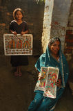 Madhubani Anstrich in Bihar-Indien Stockfotos