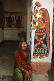 Madhubani Anstrich in Bihar-Indien Lizenzfreie Stockfotos