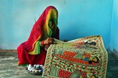 Madhubani Anstrich in Bihar-Indien Stockbilder