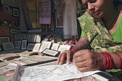 Madhubani motif art painting of India