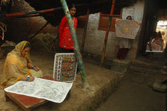 Madhubani painting in Bihar-India. August 21, 2009 –Madhubani,Bihar,India-Maithil Paintings,commercially popular as Madhubani painting is a style of Indian Royalty Free Stock Image