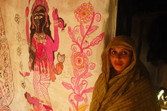 Madhubani painting in Bihar-India. August 21, 2009 –A woman painter in her house Stock Image