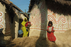 Madhubani painting in Bihar-India. August 21, 2009 –Madhubani,Bihar,India-Maithil Paintings,commercially popular as Madhubani painting is a style of Indian Stock Photography