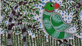 Madhubani Painting of parrot. vector illustration