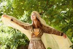 Madieval lady at outdoor. Royalty Free Stock Photo