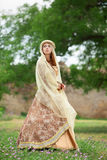 Madieval lady at outdoor. Stock Images