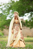 Madieval lady at outdoor. Royalty Free Stock Photography