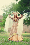 Madieval lady at outdoor. Royalty Free Stock Photos
