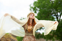Madieval lady at outdoor. Stock Photo