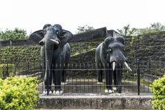 Two life size masonry black stone elephants sculpture inside Madikeri Fort in Coorg Karnataka India Royalty Free Stock Images
