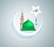 Madina - Саудовская Аравия Green Dome дизайна Мухаммеда пророка Стоковое Изображение