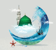 Madina, Arabia Saudyjska zieleni kopuła profeta Muhammad płaskiego projekta pojęcia Islamski płaski projekt - Fotografia Royalty Free