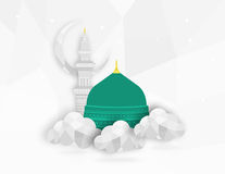 Madina Munawwara-moskee - de Groene Koepel van Saudi-Arabië van vlak het ontwerp Islamitisch vlak conceptontwerp van Helderziende Stock Foto