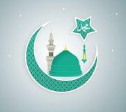 Madina Munawwara-moskee - de Groene Koepel van Saudi-Arabië van vlak het ontwerp Islamitisch vlak conceptontwerp van Helderziende Stock Afbeelding