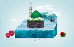 Madina - Saudi Arabia Green Dome of Prophet Muhammad design stock illustration