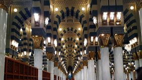 Interior view of Nabawi's Mosque building with persective view and selective focus. royalty free stock image