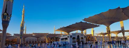 Madinah, Saudi Arabia march 2019, Muslims at Prophet Muhammad`s mosque square in Madinah Al-Munawarrah. The mosque is one of the