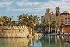 Madinat Jumeirah旅馆,迪拜,阿拉伯联合酋长国看法  免版税库存图片