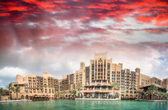 Madinat Jumeirah buildings, Dubai. Sunset panoramic view Stock Photo