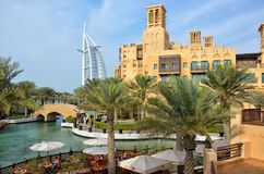 Madinat Jumeirah and Burj al Arab, United Arab Emirates royalty free stock images