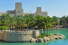 Madinath Jumeirah. Traditional arabic archtecture and nature Stock Photos