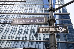 Madison avenue street sign, NYC, USA stock images