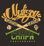 Madison baseball club,  print for sportswear Royalty Free Stock Image