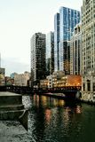 Madison Bridge over Chicago River Royalty Free Stock Images