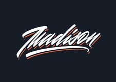Madison brush vector lettering. Modern brush script lettering can be used for making banners or apparel design. It's easy to change the color and resize the Royalty Free Stock Photo