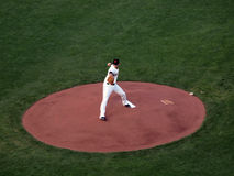 Madison Bumgarner steps forward and reaches back Royalty Free Stock Photography