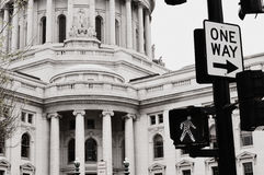 Madison Capitol Building with One Way Sign Royalty Free Stock Photos