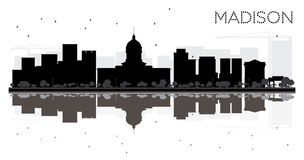 Madison City skyline black and white silhouette with reflections. Vector illustration. Simple flat concept for tourism presentation, banner, placard or web Stock Photos