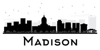 Madison City skyline black and white silhouette. Stock Images