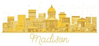 Madison City skyline golden silhouette. Vector illustration. Cityscape with landmarks Stock Photo