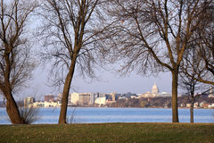 Madison downtown seen accros Lake Monona Stock Photography