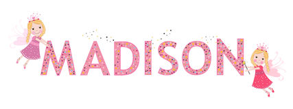 Madison female name with cute fairy Stock Image
