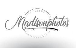 Madison Personal Photography Logo Design with Photographer Name. Madison Personal Photography Logo Design with Photographer Name and Handwritten Letter Design Royalty Free Stock Images