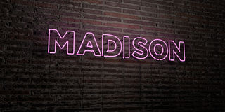 MADISON -Realistic Neon Sign on Brick Wall background - 3D rendered royalty free stock image Stock Photos
