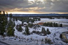 Madison River, Montana. Winter on the Madison River, just west of Yellowstone, Montana.  Cloudy cold morning looking downriver Royalty Free Stock Photos
