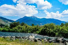 River in Southern Montana. The Madison River in Southern Montana as you enter Yellowstone National Park Stock Photos