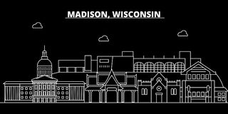 Madison silhouette skyline. USA - Madison vector city, american linear architecture, buildings. Madison travel. Madison silhouette skyline. USA - Madison vector Royalty Free Stock Image