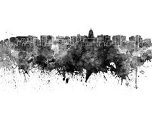 Madison skyline in black watercolor Stock Photography
