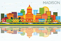 Madison Skyline with Color Buildings, Blue Sky and Reflections. Royalty Free Stock Images