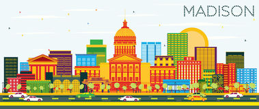 Madison Skyline with Color Buildings and Blue Sky. Vector Illustration. Business Travel and Tourism Concept with Modern Buildings. Image for Presentation Stock Image