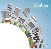 Madison Skyline with Gray Buildings, Blue Sky and Copy Space. Royalty Free Stock Image