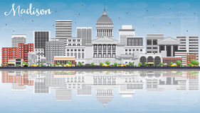 Madison Skyline with Gray Buildings, Blue Sky and Reflections. Stock Images